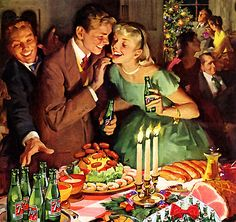 Haddon Sundblom -   Painting was in a 7-up ad in December 1957. Looks like everyone is eating well.