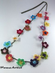 CROCHETED FLOWERS NECKLACE various color tones by HomeArtist, $16.00