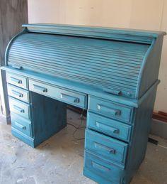 Twist of Turquoise/Aqua Oak Roll Top Desk