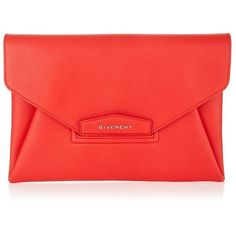 Givenchy Antigona Grain Envelope Clutch ($1,210) ❤ liked on Polyvore featuring bags, handbags, clutches, evening purse, envelope clutch bag, special occasion handbags, red handbags and givenchy purse