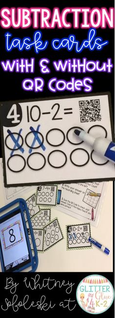 Use these task cards to reinforce basic subtraction with your students! Students will cross off the number of circles being subtracted with a dry erase marker to find the answer. Keywords, math centers, kindergarten, first grade, task cards, QR Codes, iP