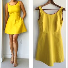 """Zara Yellow Dress Zara Trf Fitted and Flare Dress! Super cute dress for any occasion. Wear it with heels or flats. Super comfortable. Invisible side pockets. V back. Invisible side zipper. Purple trim around neckline. Excellent condition. Had a hole above one pocket that got repaired (see last photo) measurements chest 34"""" waist 28"""" length 33.5"""" . 97% cotton 3% elastane. lining 100% polyester Zara Dresses"""