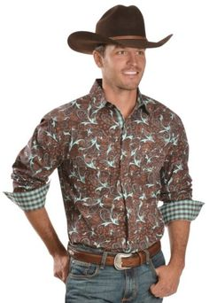 Red Ranch Brown & Turquoise Paisley Western Shirt - Sheplers