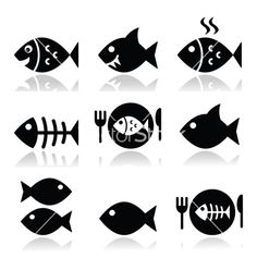 Fish fish on plate skeleton vecotor icons vector 1726728 - by RedKoala on VectorStock®