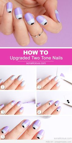 These easy manicure ideas can get nails on fleek without wasting a ton of time at the salon. Purple Nail Designs, Gel Designs, Simple Nail Art Designs, Great Nails, Perfect Nails, Cute Nails, Nails News, Two Tone Nails, Long Nail Art