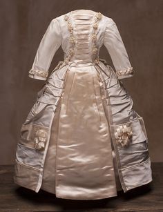 """Antique Silk Satin dress for fashion doll about 15-16"""" from respectfulbear on Ruby Lane"""