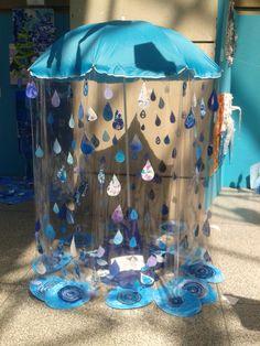 knutselen - met vetkrijt en blauwe waterverf druppels en plassen maken