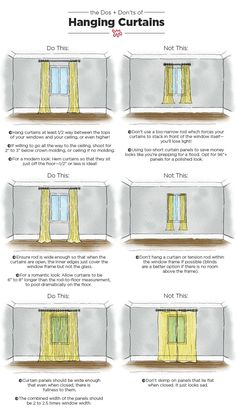 The Dos & Don'ts of Hanging Curtains: An Illustrated Guide Nothing makes a room feel well-dressed quite like carefully chosen, expertly hung curtains. When done right, your ceilings can look taller and your room will appear complete. Family Room Curtains, Bedroom Curtains, Velvet Curtains, Apartment Curtains, Curtain Ideas For Living Room, Diy Bedroom, Rustic Curtains, Rug Sizes Living Room, Voile Curtains