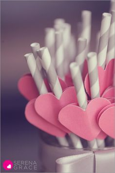Paper heart straws