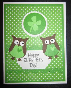 St. Patrick's Day card - Stampin' Up Owl punch