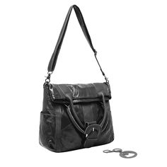 MG Collection JASNA Black Authentic Lambskin Office Tote Large Shopper Bag Purse. A chic purse featuring genuine black lambskin, a unique quilted pattern, and gunmetal-gray hardware. Provides 2 unique looks in a snap: simply fold down the top double handles and secure them in place with the stylish snap buckle. Adjustable and removable shoulder strap included. Roomy interior is fabric-lined, and it comes complete with 2 slip pockets and 1 zippered pocket. **Official MG Collection® product…
