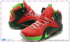 tenis barato de marca Nike Lebron 12 P.S. Elite 684593-300 Fluorescent Verde/Vermelho