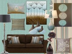 New Living Room Decor Brown Couch Blue Turquoise Ideas Living Room Turquoise, Teal Living Rooms, Living Room Color Schemes, Paint Colors For Living Room, New Living Room, Living Room Designs, Colour Schemes, Turquoise Couch, Duck Egg Blue Living Room