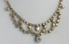 AMAZING Vintage Gold Tone Aurora Borealis Rhinestone Choker Necklace and Earrings Set