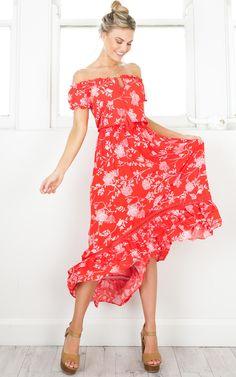 showpo, showpo dress, red, red dress, casual, maxi, dress