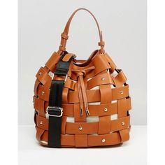 Mango Weaved Stud Bucket Bag (485 MXN) ❤ liked on Polyvore featuring bags, handbags, shoulder bags, tan, tan handbags, woven handbags, studded shoulder bag, drawstring purse and bucket bags