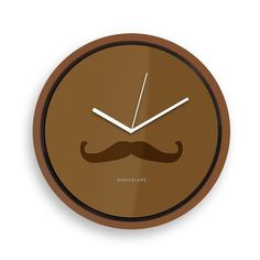 Horloge murale moustache - marron : en vente sur RueDuCommerce