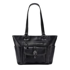 Rich and soft black pebbled-leather tote handbag, Silvertone hardware and contrast topstitching, Five exterior pockets, including 1 zip pocket on front, 1 flap pocket with faux-buckle on front, slip pockets on either side, and 1 zip pocket on back side, Three interior pockets, including 1 inner zip pocket and 2 inner slip pockets. Regularly $39.99, shop Avon Fashion online at http://eseagren.avonrepresentative.com