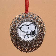 Handmade Cross Stitch Snoopy in Round Silver Metal Frame by RikkasCreations on…