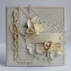 like the shabby chic feel to this card Wedding Anniversary Cards, Wedding Cards, Card Making Inspiration, Making Ideas, Estilo Shabby Chic, Shabby Chic Cards, Beautiful Handmade Cards, Pretty Cards, Card Maker