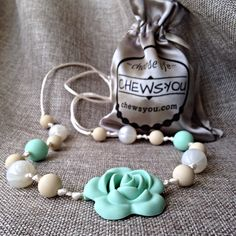 Breastfeeding Necklace / Chewelry / Baby Shower Gift / Teether / Mom Teething Necklace / Fashion Nursing Necklace Silicone Mint Rose by CHEWSYOU on Etsy https://www.etsy.com/se-en/listing/290627015/breastfeeding-necklace-chewelry-baby