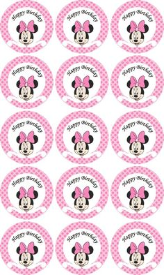 Items similar to Disney Minnie Mouse pink Birthday party cupcake toppers- printable on Etsy Minnie Mouse Party, Minnie Mouse Stickers, Minnie Mouse Rosa, Minnie Mouse Cupcake Toppers, Minnie Mouse Birthday Decorations, Minnie Mouse 1st Birthday, Pink Birthday, Mouse Cake, Cupcake Toppers Free