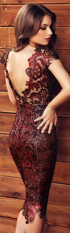 Dark red lace dress in backless style and gorgeous look