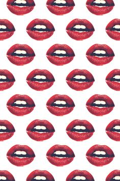 Red lips with red lipstick on fabric wallpaper or gift wrap. Design by sleepymountain