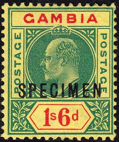 """Gambia 1902 Specimen with """"Slotted Frame"""" Variety Stamps, Frame, Seals, Picture Frame, Postage Stamps, Frames, Stamp"""