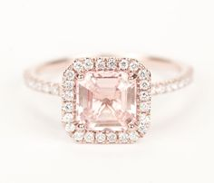 Certified Peach Pink Champagne Asscher Sapphire Diamond Halo Engagement Ring 14K Rose Gold