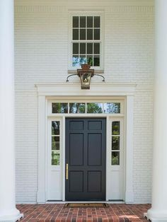 Front Porch Columns, Brick Porch, Brick Cottage, Cottage Homes, Colonial Front Door, Red Brick Pavers, Traditional Brick Home, White Brick Houses, Craftsman Style Bungalow