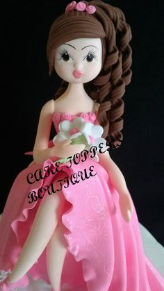 Pink Quinceañera Cake Topper, Beautiful Girl Cake Topper it will add an unique look to your Cake Great for Birthday, Bridal Shower, Sweet Sixteen and Quinceañeras This Cake topper is all Handmade in C Disney Characters, Fictional Characters, Disney Princess, Fantasy Characters, Disney Princes, Disney Princesses, Disney Face Characters