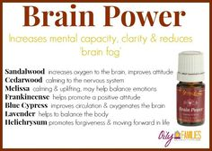Young Living Essential Oils: Brain Power For more information you can contact me at cgrass Essential Oils Guide, Essential Oil Uses, Natural Essential Oils, Young Living Oils, Young Living Essential Oils, Brain Power Young Living, Doterra, Yl Oils, Brain Fog