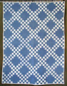 Antique c1880 Indigo Blue Irish Chain QUILT Quilted Later ~ Vintageblessings
