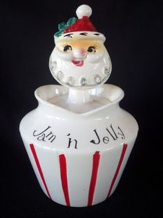 RARE VINTAGE 1950s LEFTON HOLT HOWARD SANTA CHRISTMAS JAM JELLY JAR PIXIEWARE
