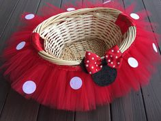 Medium Minnie Mouse Inspired Themed Tutu Basket, Birthday Tutu Gift Basket, Baby Shower Basket,  Tutu Easter Basket, Newborn Photo Prop Bask