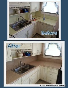 Miracle Method counter top refinishing. Before and After refinished in our Natural Accents Cliff.