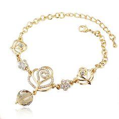 Fashion Golden Floral Embellished Metal Bracelet