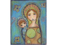 Blonde Mother and Son   Print from Painting by FLOR by FlorLarios, $15.00