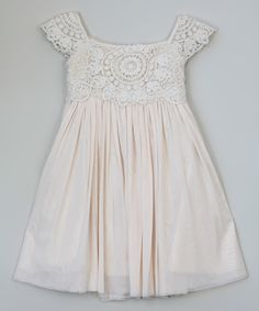 Another great find on #zulily! White Crochet Geometric Dress - Toddler & Girls by Blossom Couture #zulilyfinds