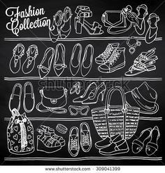 Hand drawn vector Illustration of female fashion accessories on chalkboard. Side view of shoes and bags on shelf. Black and white sketch