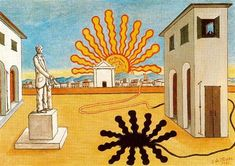 Rising sun on the plaza - 1976 Giorgio de Chirico