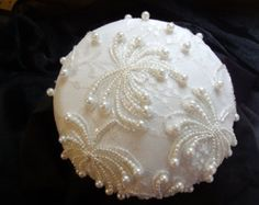 White Beaded Button Hat over white Duponi SIlk