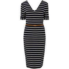 Sugarhill Boutique Amy Fitted Shift Dress, Navy/Cream ($48) ❤ liked on Polyvore featuring dresses, v neck maxi dress, blue dress, midi dress, long-sleeve shift dresses and half sleeve dresses