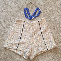 High Wasted Multi-Color Shorts w/Necklace Bundle High wasted multi-color pastel shorts with matching Royal blue chunky necklace! Just add a tank and you've got the perfect daytime outfit Mustard Seed Shorts
