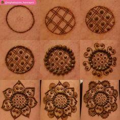 Tutorial Create Henna Design - 20 Best Easy Mehndi Design Step by Step Tutorial Images. The best tutorial step by step to create Henna design for beginner Round Mehndi Design, Mehndi Designs For Kids, Henna Art Designs, Modern Mehndi Designs, Mehndi Design Pictures, Mehndi Designs For Fingers, Beautiful Henna Designs, Mehandi Designs Easy, Geometric Designs