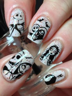 Cute Halloween Nails, Halloween Acrylic Nails, Halloween Nail Designs, Skull Nail Designs, Art Designs, Design Art, Disney Acrylic Nails, Best Acrylic Nails, Disney Nails