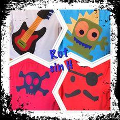Camisetas guitarra rock&roll , monstruo y pirata