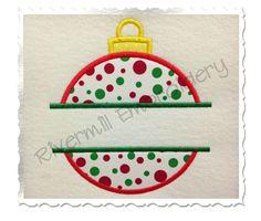 Split Christmas Ornament Applique Machine by RivermillEmbroidery, $2.95