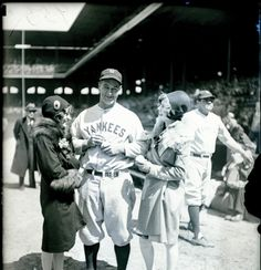 Babe Ruth photo bombing a shot of Lou Gehrig